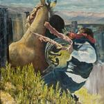 """This is Fixin To Hurt"" 24x36 oil on canvas - Prints available - Original is for sale  Setting: Dubois Rodeo, Idaho 2010. I asked my friend Andrew what he was thinkin while on the bronc. He said This is fixin to hurt!.  Thus the name of the painting."