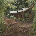 """The Cabin"" 16x20 oil on canvas - prints available - Original Sold One of two paintings I did in 1990 Setting: Santa Cruz Mountains, CA"