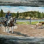 """Watchin Through the Fence""  9x12 My Friend Tom and his horse ""Nike"" in Canada at a yealy branding he goes to.  2011"